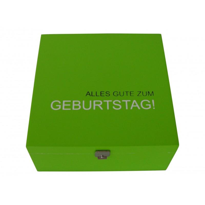 Holzkiste grün lackiert mit Geburtstagswunsch